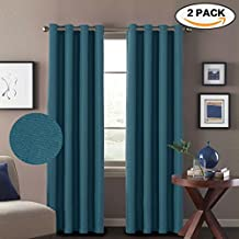 H.VERSAILTEX Premium Room Darkening Thermal Insulated Bedroom/Living Room Curtains (2 Panels) Grommet Linen Look Primitive Window Treatment Drapes,52 x 96 Inch-Aegean Blue