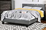 Furniture of America Lauren Leatherette Upholstered Platform Bed, Queen, Gray