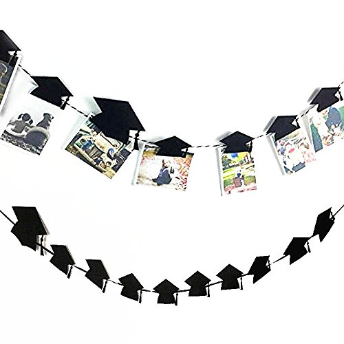 TOOGOO Graduation Mortarboard Hat Photo Banner Clip Garland Banner Graduation Party Decor Decoration Foto Banner