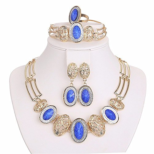 Moochi 18K Gold Plated Blue Oval Beads Necklace Earrings Ring Bracelet Jewelry Set - Costume Jewelry Art