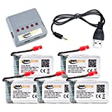 Keenstone 5Pcs 3.7V 600mAh 20C battery with 5-Port Quick Charger for Syma X5HC X5HW Quadcopters Overcharge Protection and Faster Charging Speed (Not Compatible with Contixo F5)