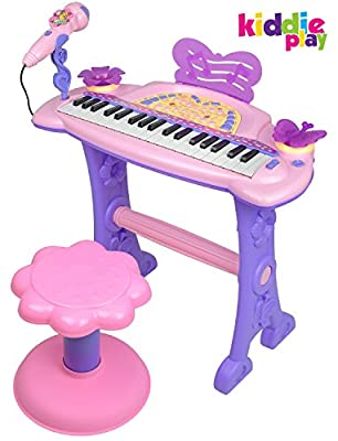 Kiddie Play Electronic 37-Key Toy Piano Keyboard for Kids with Real Working Microphone and Stool (Pink)