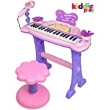 Kiddie Play Electronic 37-Key Toy Piano Keyboard for Kids with Real Working Microphone and Stool (Pi
