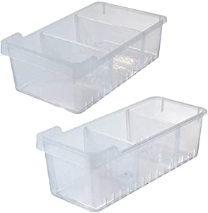 Kitchen Storage Organizer 4 Adjustable Dividers Deep Bin with Built-In Handles, for Pantries, BATH COLLECTION,Cabinets, Shelves, Refrigerator, Food Safe, Clear Set of 2 (1 Big and 1 Small) 15.7 Length