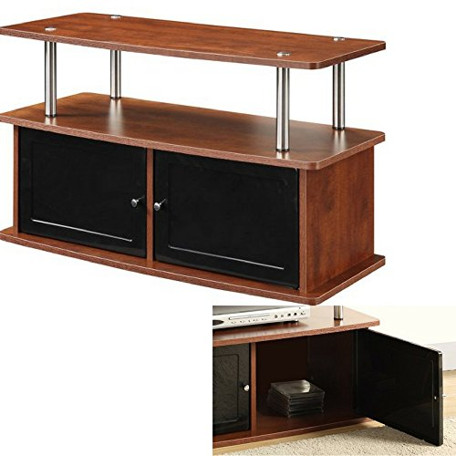 Multi Media TV Stand with Cabinets and Shelf Wooden Cherry Brown Steel Poles Black Plastic Doors Small Minimalist Modern Flat Screen Panel 36 Inch Living Room TV Stand eBook by Easy&FunDeals -