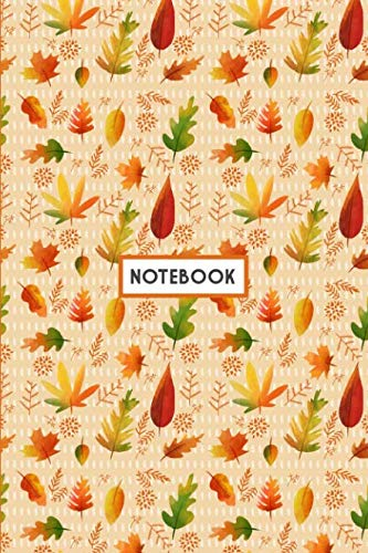 Notebook: Autumn Leaves Fall, Wide Ruled 110 pages (6.14