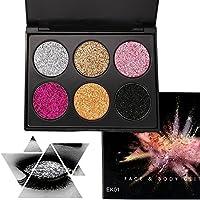 Glitter Polvo Paleta de Maquillaje Profesional, KRABICE 6 Colores Purpurina Gel Arte de Uñas Decoración cara cuerpo labios sombra de ojos maquillaje con purpurina Maquillaje de Ojos Sombra - #1