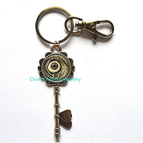 (Steampunk Jewelry Human Anatomy Eyeball Keychain Evil Eye Science Medical Art Key)