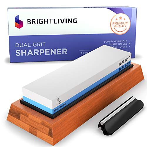 Whetstone Knife Sharpening Stone Set | Dual Grit Whetstone 1000 6000 | Best Kitchen Wet Stone Knife Sharpener Stone | Non-Slip Bamboo Base, Silicone Stone Holder, Angle Guide and eBook Instructions ()