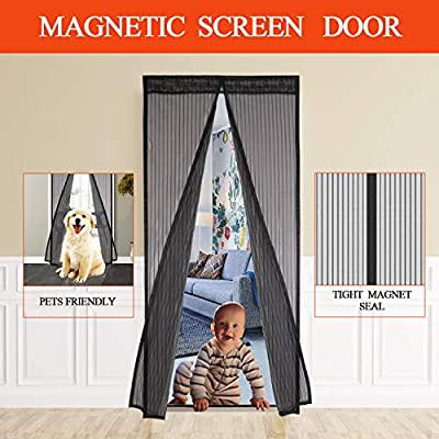 Veidoo Magnetic Screen Door, Self Sealing, Hands Free, Heavy Duty Mesh Curtain with Hook & Loop Fastener to the Door Frame Fits Door Size Up to 34 x 82 inch Max, protect your home against Bug Mosquito