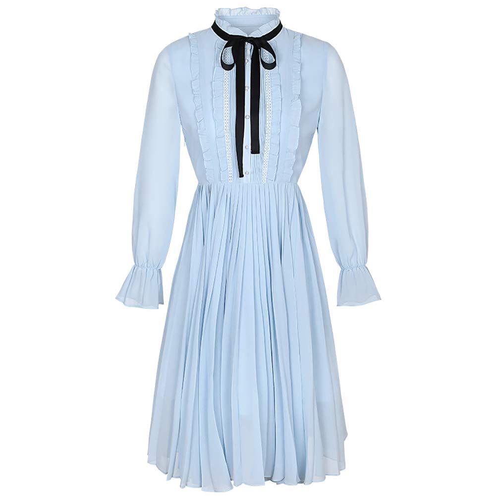 女性のシフォン長袖ドレス - 襟長袖プリーツスカートをスタンド - - 気質レディー春スリムエレガントエレガント B07QJ5ZGTG Blue B07QJ5ZGTG Large Large Blue Large Blue, Birdie hunt:ecf62e70 --- 2chmatome2.site