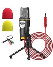Micrófono de PC NIERBO con soporte de micrófono, micrófono de condensador de grabación Jack profesional de 3.5 mm Compatible con PC, computadora portátil, iPad, iPhone, Mac-Recorder Singing YouTube Skype Gaming (micrófono de PC de 3.5 mm)