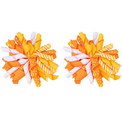 juDanzy Halloween and Fall Candy Corn Korker Hair Bow Clip for Girls (2 Pack)]()
