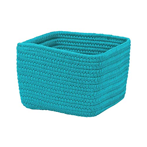 "Colonial Mills BC61A012X008S Braided Craft Basket, 12""x12""x8"", Aqua Blue made in Rhode Island"