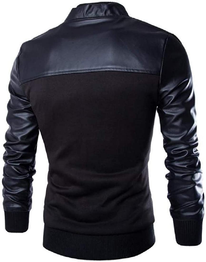 VITryst-Men Loose Fit Casual Slim Western Leather Pu Patchwork Jersey Jacket