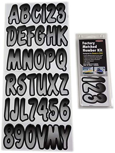 (Hardline Products SIBKG200 Silver/Black Number Factory Matched Registration Kit)