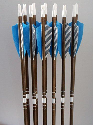 Youth cedar arrows blue/barred feathers (12)