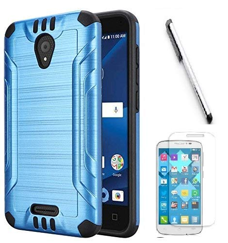 Luckiefind Case Compatible with Cricket Wave (2018), Slim Brush Texture Hybrid Defender Armor Protective Case Cover Accessory (Blue)