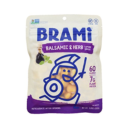 Balsamic Herb - BRAMI Gluten Free High Protein Vegan Lupini Beans Snack, Balsamic & Herb, 8 Count
