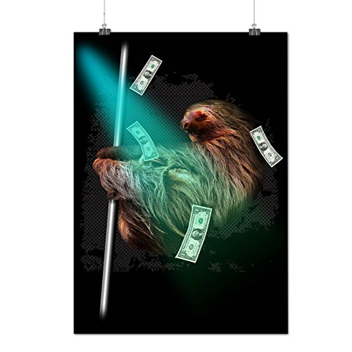 Sloth Cash Funny Animal Wild Funny Matte/Glossy Poster A3 (42cm x 30cm) | Wellcoda