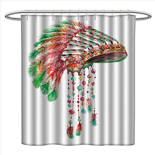 haommhome Feather Shower Curtains Digital Printing Tribal Chief Costume Headdress Native American Culture Ethnicity Symbol Satin Fabric Bathroom Washable W72 x L72 Vermilion Orange Green -