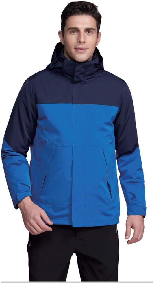 スキースーツ 男性と女性の冬のスキージャケット防水マウンテンコート防風フード付き下着 防水性と防風性を備えたスキージャケット (色 : 青, サイズ : S) 青 Small
