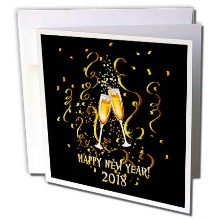 3dRose Dream Essence Designs-Holidays New Year - Happy New Year 2018 with champagne glasses, confetti and gold ribbon. - 6 Greeting Cards with envelopes ()