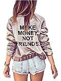 Farktop Make Money Not Friends Women's English Floral Print BF Style Jacket Bomber Jacket