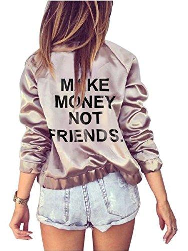 Farktop Make Money Not Friends Women's English Floral Print BF Style Jacket Bomber Jacket (XXL, Pink) English Floral Print