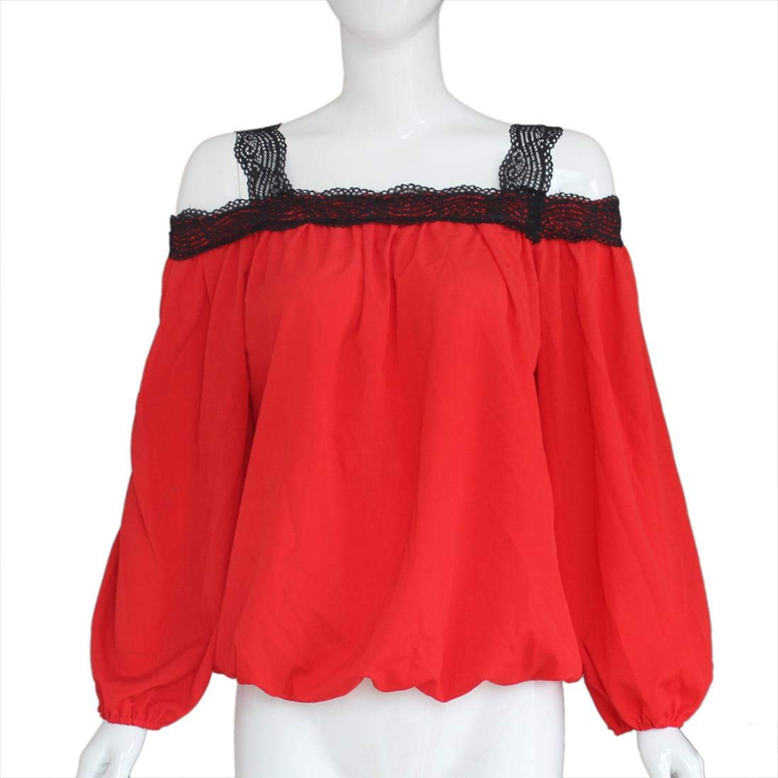 Bestow Top con Paneles de Encaje Mujer Sexy Off Shoulder Camisa de Manga Larga Blusa de Gasa de Encaje Loose Top Camiseta: Amazon.es: Ropa y accesorios