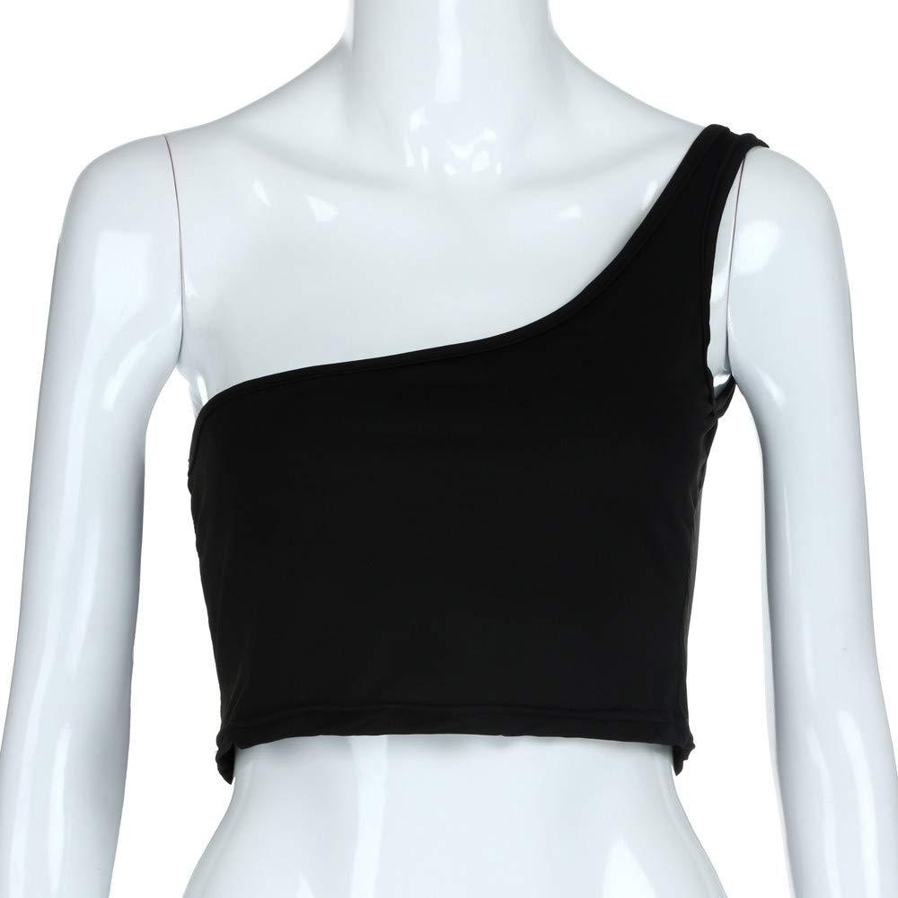 Lazzboy Donna Crop Top Camisole Camicetta Senza Maniche Cami Vest One Strap Taglia 40-46