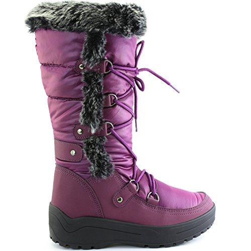 DailyShoes Frauen-Frauen-Knie-Hoch-up Warmes Pelz-Wasser-beständige Eskimostiefel Lila