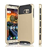Galaxy S7 Case, Tinysaturn(TM) [Ymars Series] [Gold / Black] Shock Absorbing Dual Slim Defender Plastic Shell Rubber Scratches-Proof Cover Case For Samsung Galaxy S7 S VII G930 GS7 All Carriers