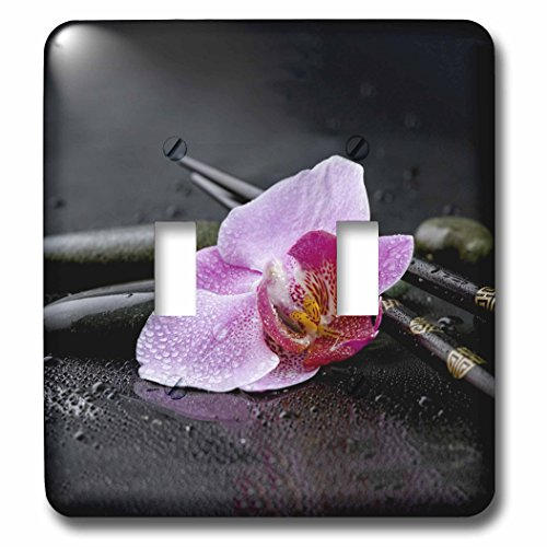 Flower Chop Plate - 3dRose Andrea Haase Nature Photography - Orchid Flower Asia Style With Chopstick Photography - Light Switch Covers - double toggle switch (lsp_268198_2)