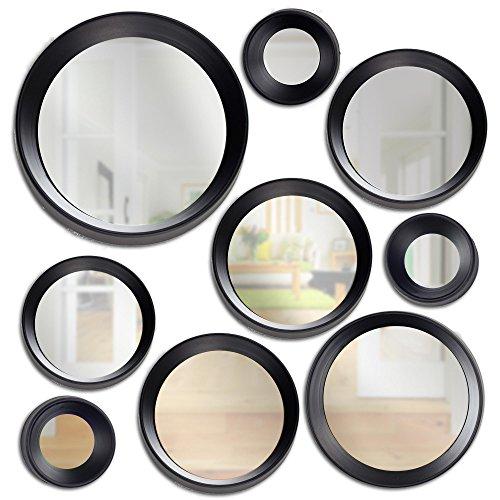Millennium Art 9 Piece Modern Round Decorative Wall Mirror Set - Black (Round Mirrors For Walls Modern)