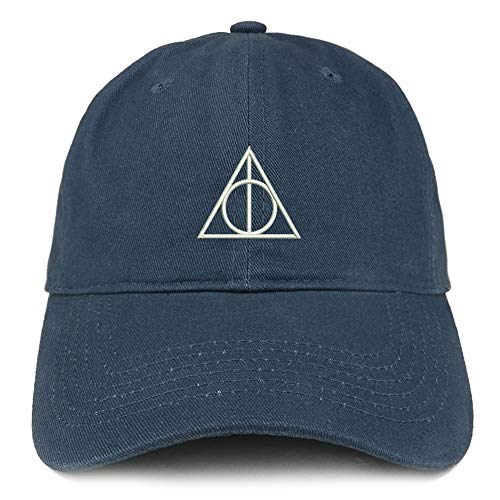 (Trendy Apparel Shop Deathly Hallows Magic Logo Embroidered Soft Crown 100% Brushed Cotton Cap - Navy)