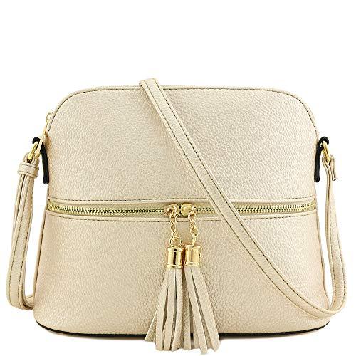 Gold Matte Handbags - Tassel Zipper Pocket Crossbody Bag (Shimmery Champagne)