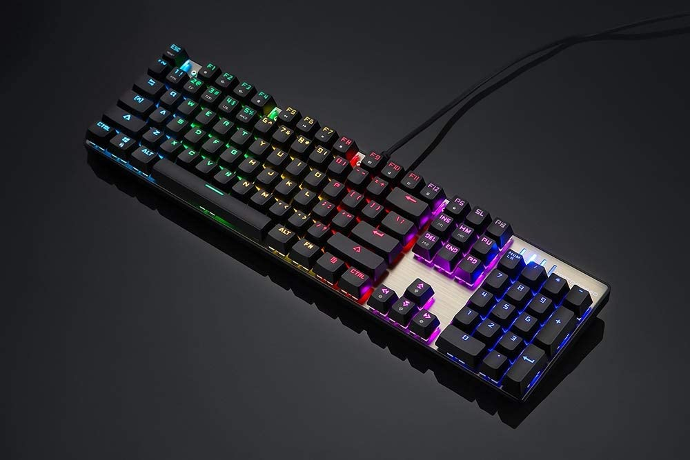 Axis Body : Red Switch, Color : Black English HUOGUOYIN Gaming Keyboard Gaming Mechanical Keyboard Wired Metal Red Switch Blue Russian English LED Backlit RGB Gamer Computer Keyboard
