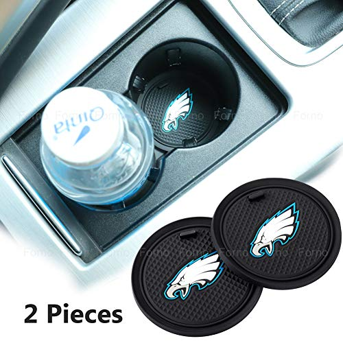 2 Pack 2.75 inch for Philadelphia Eagles Car Interior Accessories Anti Slip Cup Mat for All Vehicles (Philadelphia Eagles)