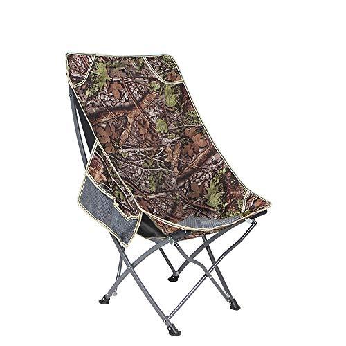 MLMHLMR Outdoor Portable Folding Chair Back Fishing Chair Leisure Beach Chair Lunch Break Chair Home Moon Chair Folding Chair (Color : Camouflage) (Chair Papasan Camo)