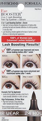 Physicians Formula Eye Booster 2-in-1 Lash Boosting Felt-Tip Eyeliner, Serum, 0.088 oz., Deep Brown
