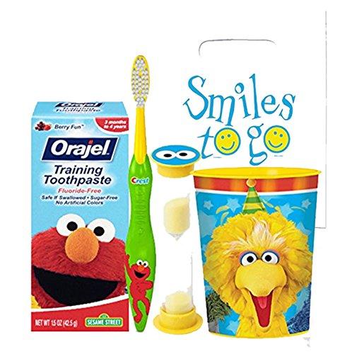 Sesame Street Elmo & Friends 4pc Bright Smile Oral Hygiene Bundle! Toothbrush, Toddler Training Toothpaste, Brushing Timer & Mouthwash Rinse Cup! Plus Dental Gift & Remember to Brush Visual Aid!