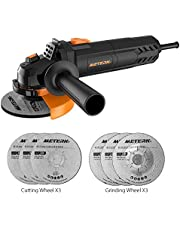 Angle Grinder,Meterk 750W 4-1/2inch with 115mm 3 Grinding Abrasive Wheels 3 Cutting Abrasive Wheels