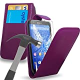 Dark Purple Leather Flip Case Cover Pouch With Tempered Glass Screen Protector For All New Sony Xperia Z4/Z4 Compact/Z3/Z3 Compact/Z2/Z1/Z1 Compact/E3/E2/M2/M4 Aqua