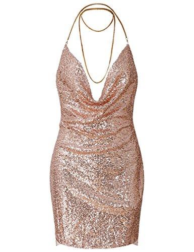 Maketina Women V Neck Metal Chain Halter Mini Clubwear Backless Sequin Bodycon Dress Gold L