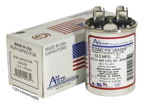 12.5 uf MFD 370//440 Volt VAC AmRad Round Run Capacitor Janitrol CAP125000370RPS Made in The U.S.A.