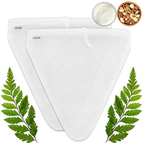 ecooe Neue Form 2 Stück Nussmilchbeutel für vegane Nussmilch Mandelmilch Haselnussmilch Feinmaschiges Passiertuch Filtertuch für Obstsaft & Kaffee 28 * 30CM