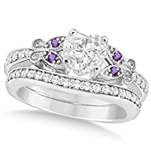 Butterfly Heart Shaped Diamond and Amethyst Engagement Ring and Band Bridal Set 14k Gold 1.71ct