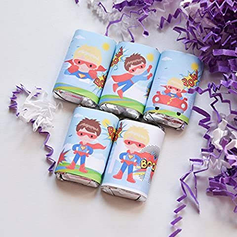 54 Superhero Birthday Labels, Superhero Candy Stickers, Superhero Gift Favors, Superhero Party - Hersheys Mini Candy Bar Wrappers
