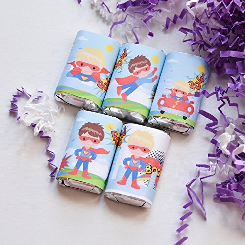 54 Superhero Birthday Labels, Superhero Candy Stickers, Superhero Gift Favors, Superhero Party Favor